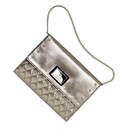 Lipsy Studded Clutch Bag ~ Metallic Silver ~ With Chain Strap ~ New /& Sealed