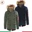 Parka-Uomo-Invernale-Giubbotto-Canadian-Pelliccia-Cappuccio-Blu-Verde miniatura 1