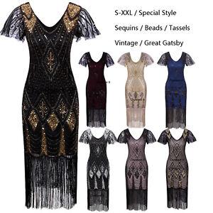Ladies-20s-1920s-Roaring-Flapper-Costume-Vintage-Sequin-Gatsby-20-039-s-Fancy-Dress