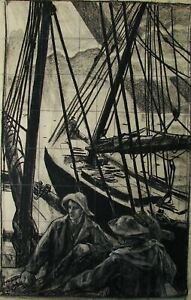 Russian-Ukrainian-Soviet-Painting-realism-men-fishers-worker-fish-boat-1950s