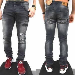 Freeside Herren Biker Jeans destroyed frayed stonewashed Pant Hose OMG1134 PAFR