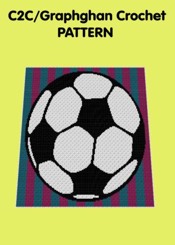 Football Rêves Couverture//Afghan-C2C graphghan CROCHET PATTERN