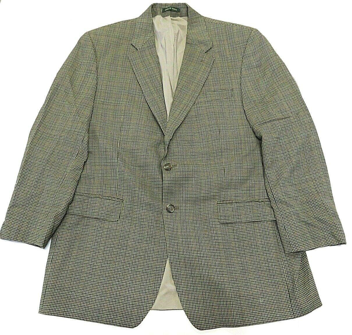 Lauren by Ralph Lauren 100% Wool Two Button Houndstooth Blazer Men's Size 44 L
