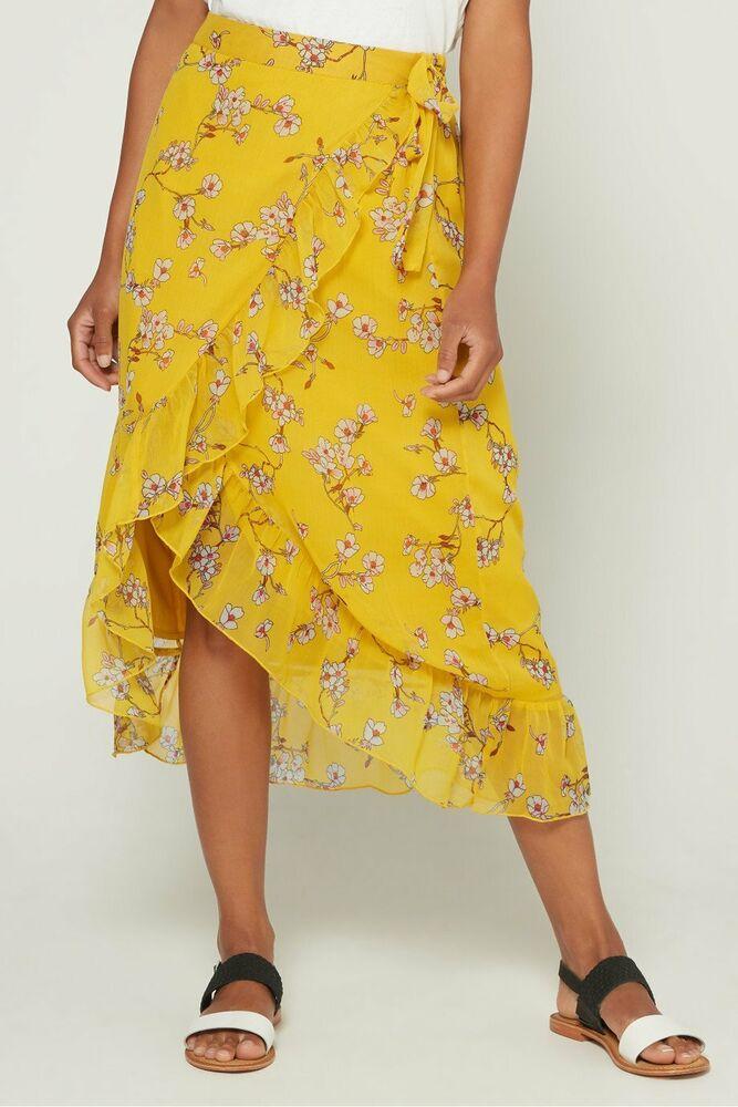 ??? New Vero Moda Jaune Foncé Imprimé Floral Faux Wrap Midi Skirt Summer Look Uk 10