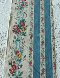 Long-Length-Of-French-Antique-Hand-Blocked-Chintz-c1860-Roses-amp-Ribbons-Dolls