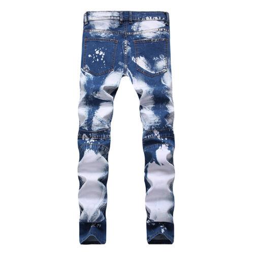 Men Stylish Punk Jeans Pants Biker Skinny Slim Straight Snow Denim Trousers Blue