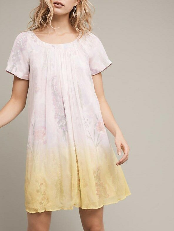NWT Anthropologie Dipped Chroma Swing Dress by HD in Paris YELLOW MOTIF Size 6