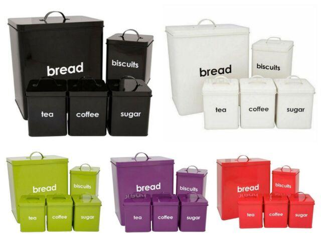 Cream 5pcs Kitchen Storage Container Set Bread Bin Tea Sugar Coffee Biscuit Tins