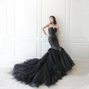 Sexy-Black-Mermaid-Elegant-Tulle-Strapless-Formal-Evening-Gown-Party-Prom-Dress