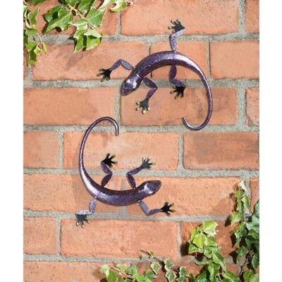2 pk 3D Gecko Wall Art Garden Metal Wall Art Decoration