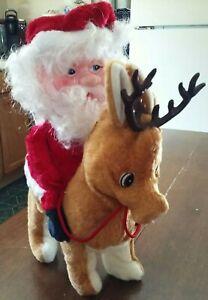Vintage-1984-Orlando-Yeh-Santa-Claus-Riding-Rudolph-Musical-Animated