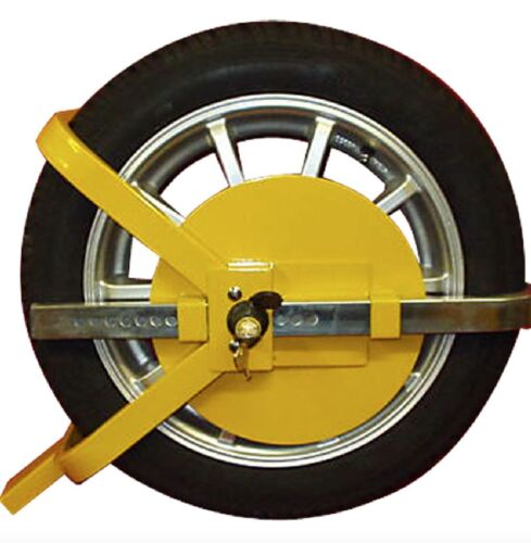 "CAR VAN WHEEL 13/"" TO 15/"" INCH STEEL CLAMP ADJUSTABLE SAFETY LOCK CARAVAN TRAILER"