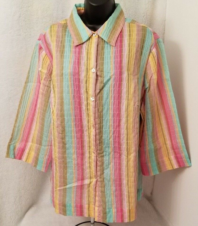 JH Collectibles NWOT Womens Plus Multi color Striped Button Down Shirt Top 2 2X