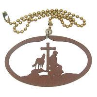 Praying Cowboy Rust Colored Metal Ornament/fan Pull