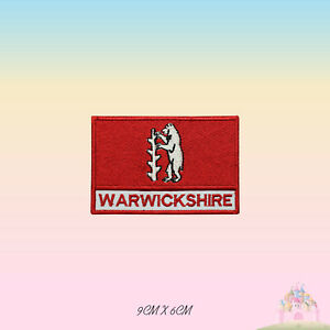 WARWICKSHIRE UK County Flag With Name Embroidered Iron On Patch Sew On Badge