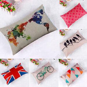 2016 Home Decor Cotton Linen Throw Pillow Case Romantic Sofa Waist Cushion Cover