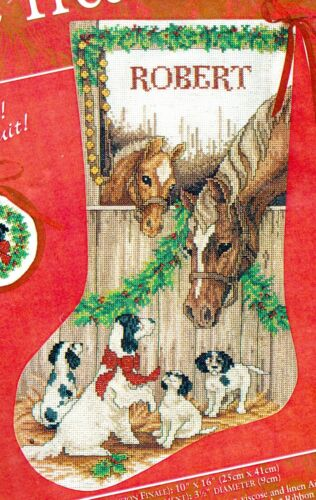 Needle Treasures Deck the Stalls Horse Puppy Dog Cross Stitch Stocking Kit 02951