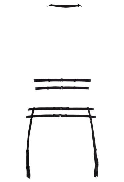 AXAMI STRUMPFHALTER  schwarz spitze  clubwear strapshalter v-8346  body