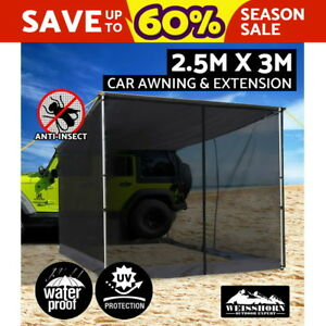2-5X-3M-Car-Side-Awning-Fly-Mesh-Roof-Rack-Top-Tents-Side-Shades-Camping-4X4-4WD