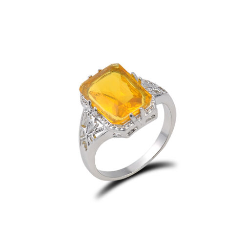 Femmes Vintage Sliver Ring Citrine Naturelle Mariage Fête Fiançailles Taille 6-9