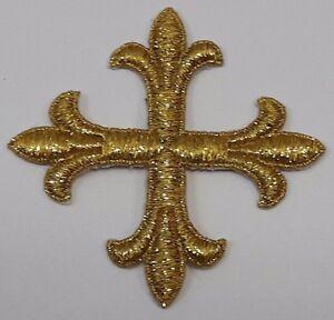 Vintage-Frances-Cruz-Bordado-para-Coser-Oro-Cojos-3-034-Emblema-Parche-6PC