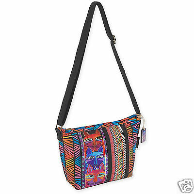 Laurel Burch Whiskered Cats Bright Stripe Crossbody Shoulder Tote Canvas Bag New
