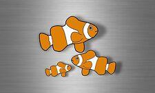 2x Adesivi adesivo sticker moto auto biker casco tuning pesci pesce pagliaccio