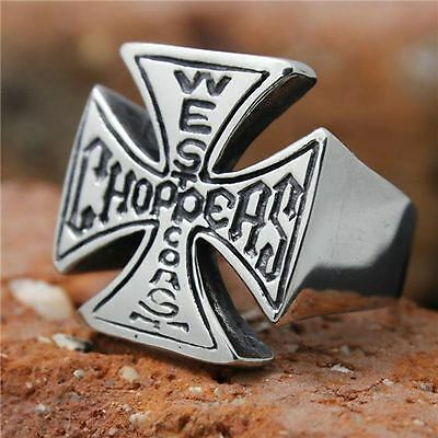 West Coast Choppers Ring Maltese Cross Bikers 316L Stainless Steel US Size 8-13