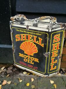 Shell-Smaltata-Firmare-Oil-Can-Smalto-Garage-Olio-Benzina-Gas-Grande