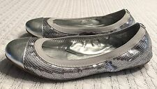 Women's 8B Coach Signature Silver Sequin Dashing Ballet Flats Shoes Cap Toe EXC