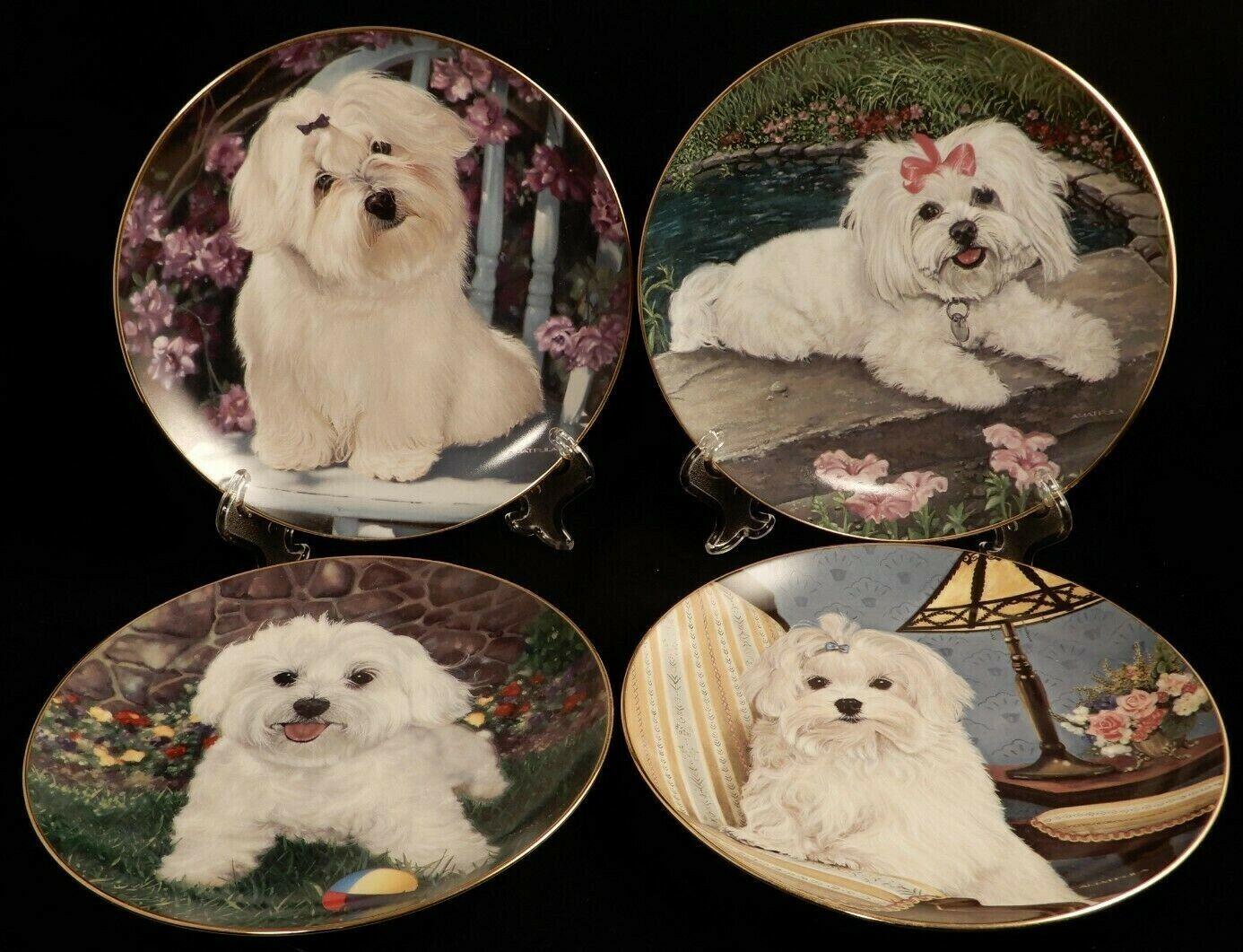 Danbury Mint Maltese Dog Collector Plates by Michele Amatrula Original Packaging