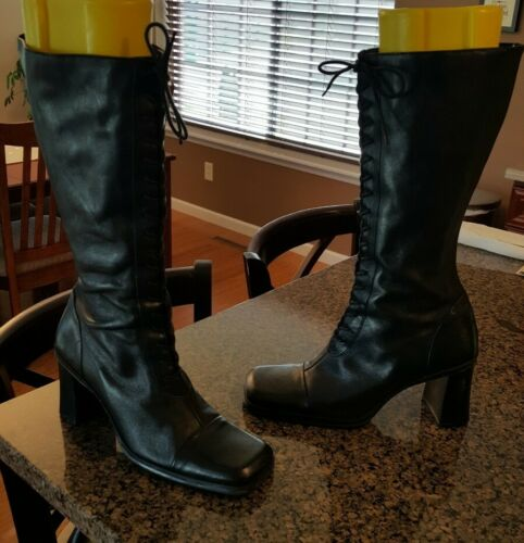 AWESOME Women's Black Leather Nine West Refined Kn
