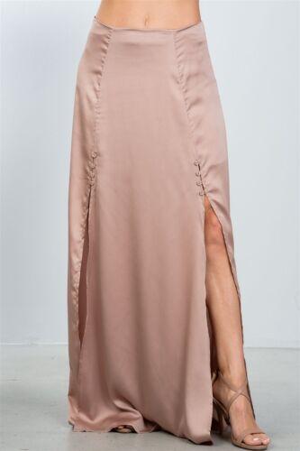 a Ladies fashion black button front double split maxi skirt