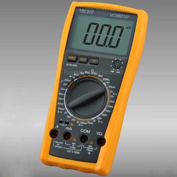 Pro VICHY VC9801A+ DMM Digital Multimeter Resistance Cap DCV/A ACV/A Meter D0128