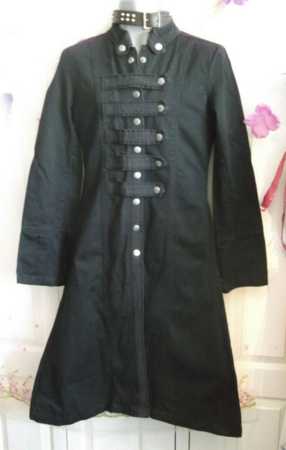 schwarz unisex Criminal damage goth punk stage schwarz fitted long coat. Größe medium