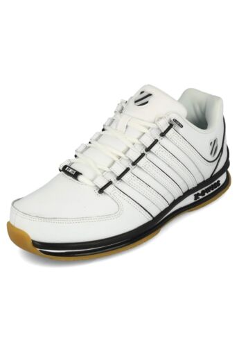 swiss Mens Black Rinzler Fashion Court Sp Shoes White Leather Trainers Tennis K pCdwC