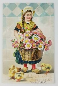 Postcard-Happy-Easter-Tucks-Women-Girl-Basket-of-Flowers-Baby-Chicks-1907