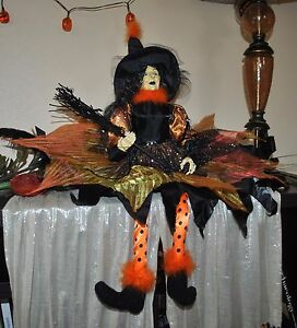 """NEW Exquisite WITCH doll Halloween 29"""" BLACK/ORANGE POLKA DOT BOA BOOTS Sitter"""