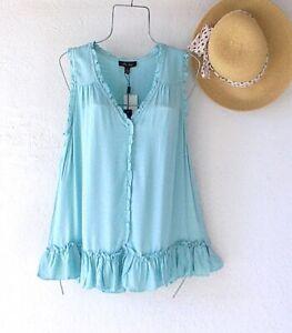 New~$48~Aqua Mint Peasant Blouse Shirt Ruffle Tank Spring Boho Top~Size Large L