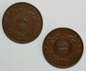 1929-amp-1936-Canada-Newfoundland-One-Cent-Coins-YG-You-Grade-Bronze-Large-Cent