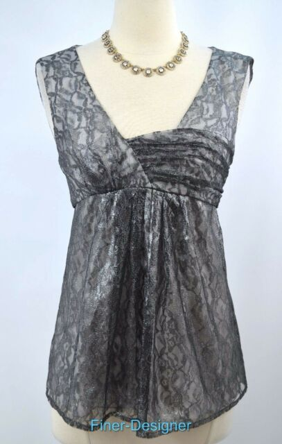 2f71d12caa4020 CYNTHIA STEFFE SILVER METALLIC SHIMMER LACE tank top blouse sexy zip 2 NEW  $240