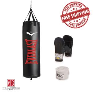 Everlast 70 lb Heavy Bag MMA Kit Gloves Handwraps Boxing Punching Training New