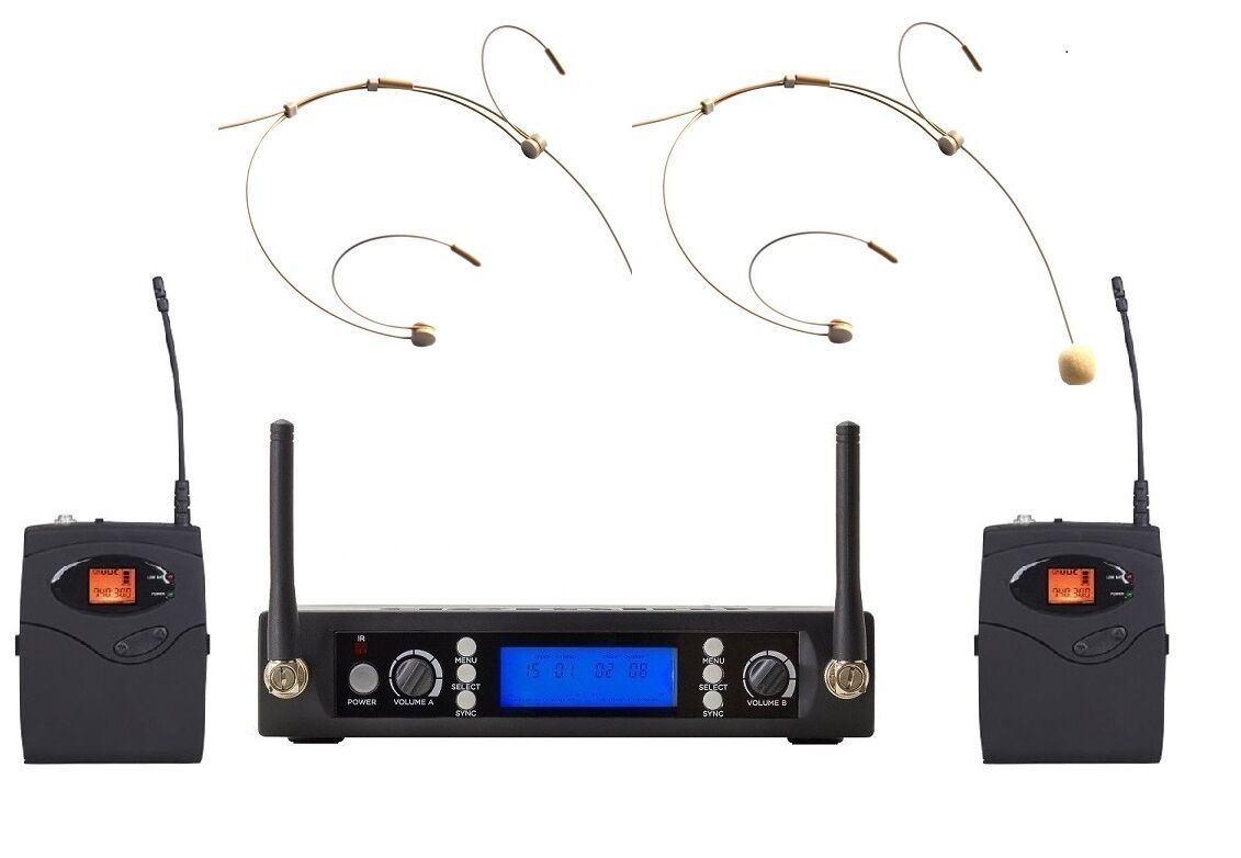 Uhf 2 Headset Microphone Wireless System For Churches Singing Performance Speech For Sale Online