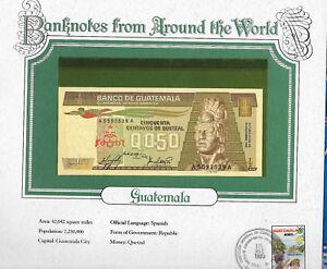 World Banknotes Guatemala 1/2 Quetzal 12.30.1983 P 65a.2 UNC Prefix A suffix A