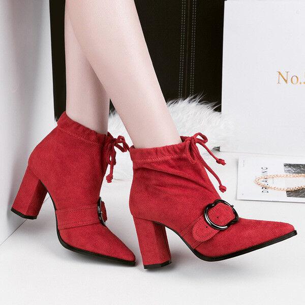Bottes basses chaussures cheville rouge 10 cm élégant comme cuir 9672