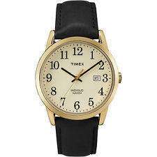 Timex Men's Easy Reader | Black Leather Strap Gold-Tone Dial | Watch TW2P75700
