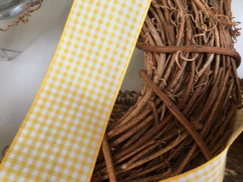 Choice of Widths ~Bows Ribbon and Lace~ Berisfords Gingham Ribbon Shade 37 Gold