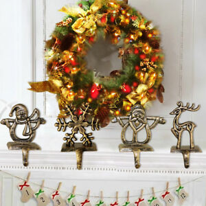 Christmas Stocking Holder.Details About Christmas Stocking Hanger Fireplace With Hooks Iron Heavy Deer Reindeer Holder