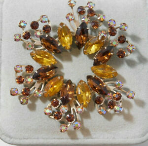Vintage AB Rhinestone Golden Brown Yellow Large Gold Brooch Pin 5a 92