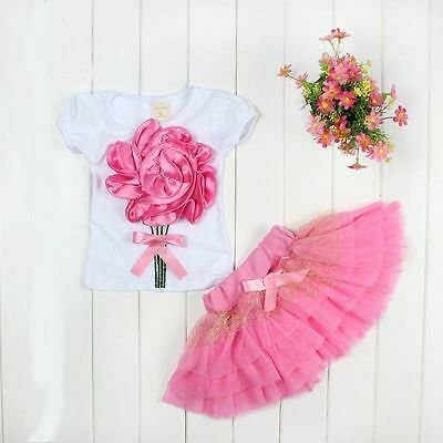 "kids baby girls T shirt &skirt TUTU party dress girls Outfits & Sets ""rose"""